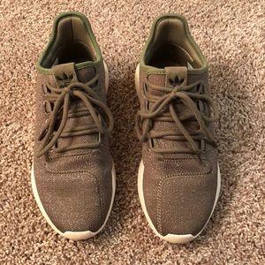 Green adidas sneakers. Size 8 in women